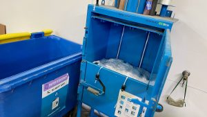Plastic baler Compacted plastic at the CCS Media Packaging centre by Paper Resource Commercial Recycling